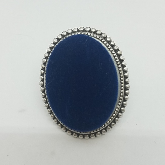 GASOLINE GLAMOUR Jewelry - Blue velvet fabric cocktail ring sample